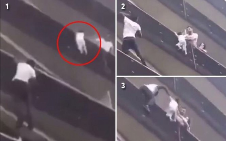 Csodával határos életmentés: Négy szintet mászott fel a férfi, hogy meg tudjon menteni egy erkélykorlátról lelógó kisgyereket
